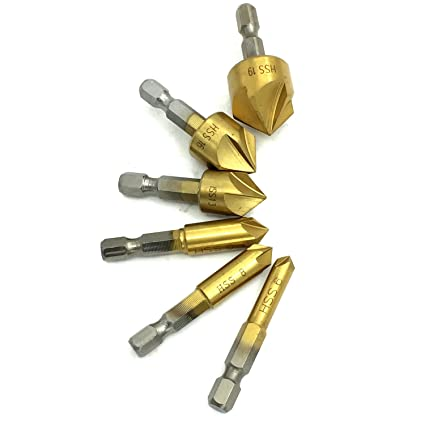"""6pc 6mm-19mm 5 Flute 90° 1//4/"""" Hex HSS Countersink Drill Bit Chamfer Cutter 6L"""