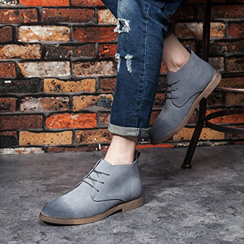 Chukka Grey Boots Desert Boots Lace Stylish Leather Up Men's Santimon Snow Ankle Outdoor Round Causal Toe Sueded Retro qBwTtS