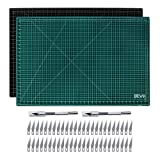 Craft Knife & Self Healing Mat Set – 24x36 Reversible Cutting Mat & 2 Hobby Craft Knives with 50 Extra Blades Making The Ultimate Arts & Crafts Kit (24x26)