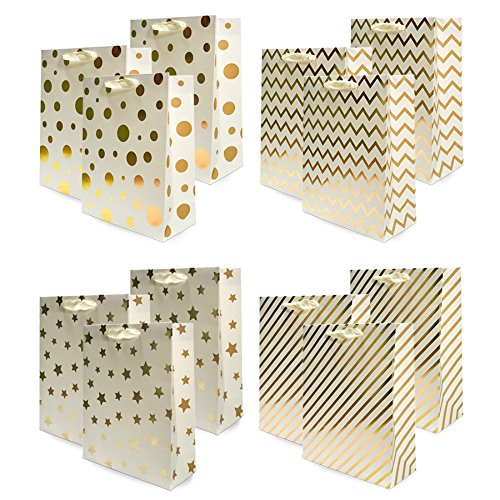 UNIQOOO 12Pcs Premium Assorted Gold Metallic Gift Bags Bulk, Large 12.5''x10.5X4'' 100% Recyclable Paper Retail Shopping Bags, Ribbon Handle/Wedding,Baby Shower, Birthday Party,Christmas Gift Bags ()