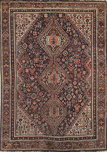Antique Pre-1900 Hand Knotted Tribal Qashqai Shiraz Persian Geometric Carpet Area Rug 6x9
