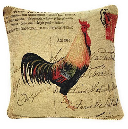 DaDa Bedding Throw Pillow Cover - Glamorous Rooster Elegant Colorful Accent Toss 1 Piece Tapestry Decorative Cushion Covers - 18