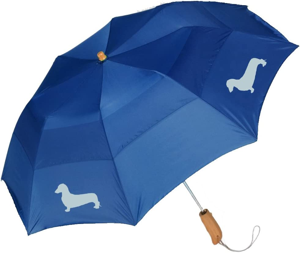 Peerless 43 Arc auto open folding umbrella with/Dachshund Long Haired Silhouette
