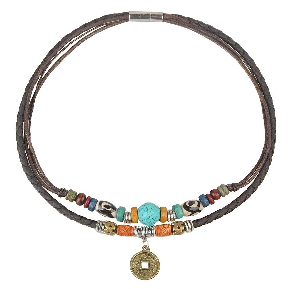 Ancient Tribe - Collier ras du cou en perles, turquoises, cuir et chanvre, 38,1cm JD HN14