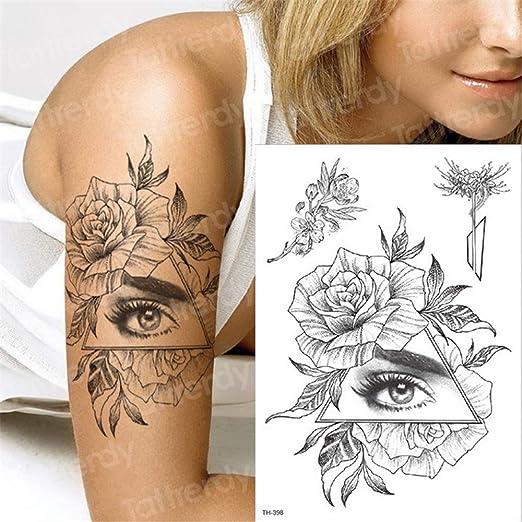 tzxdbh Tatuaje de la Flor 3pcs-Negro Tatuaje Temporal Manguitos de ...