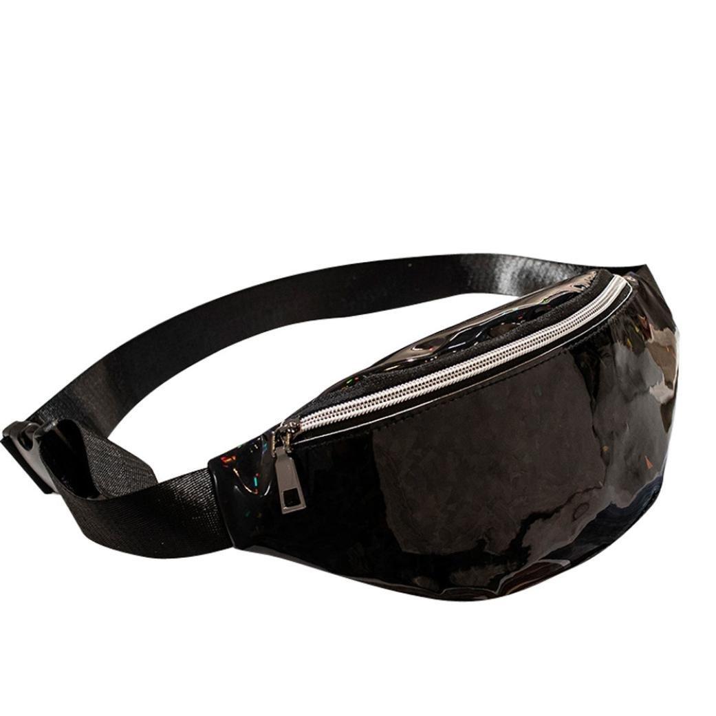 Women's PVC Laser Fanny Pack Belt Waist Bum Bag Crossbody Chest Bag Travel Beach Purse (Black)