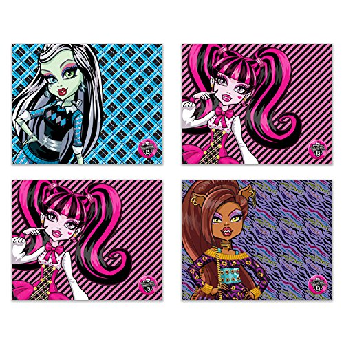 Monster High Set of 4 Cute Prints - 8x10 Poster Wall Art Photos Frankie Stein, Clawdeen Wolf, (Monster High Pictures Of Clawdeen)