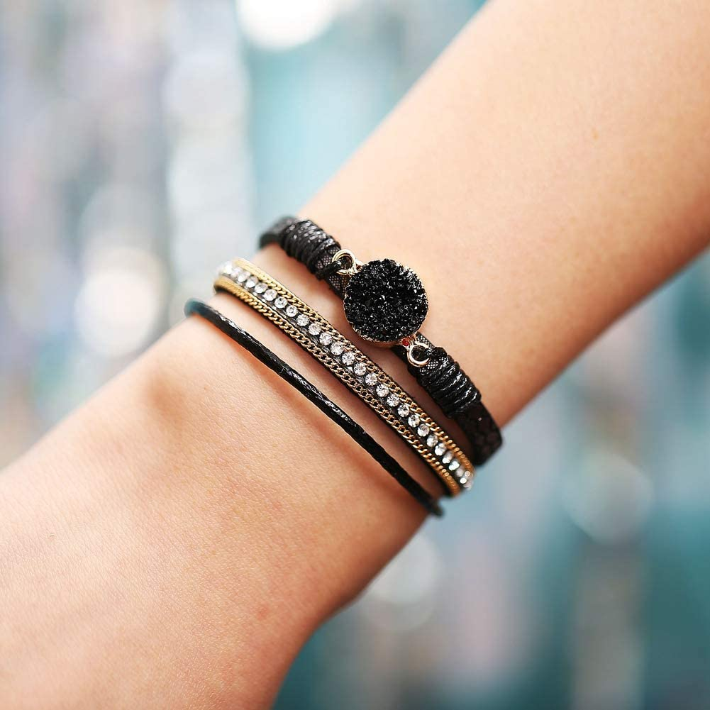 17 MILE Multi-Layer Wrap Leather Bracelet Handmade Braided Magnetic Clasp Cuff Bangle Bracelet Jewelry for Women Gift