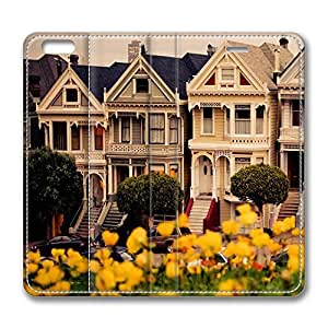 iPhone 6 Case, iPhone 6 Leather Case, Fashion Protective PU Leather Slim Flip Case [Stand Feature] Cover for New Apple iPhone 6(4.7 inch) - Painted Ladies San Francisco