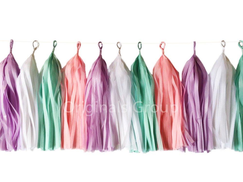 16 X Unicorn Tissue Paper Tassels for Party Wedding Gold Garland Bunting Pom Pom