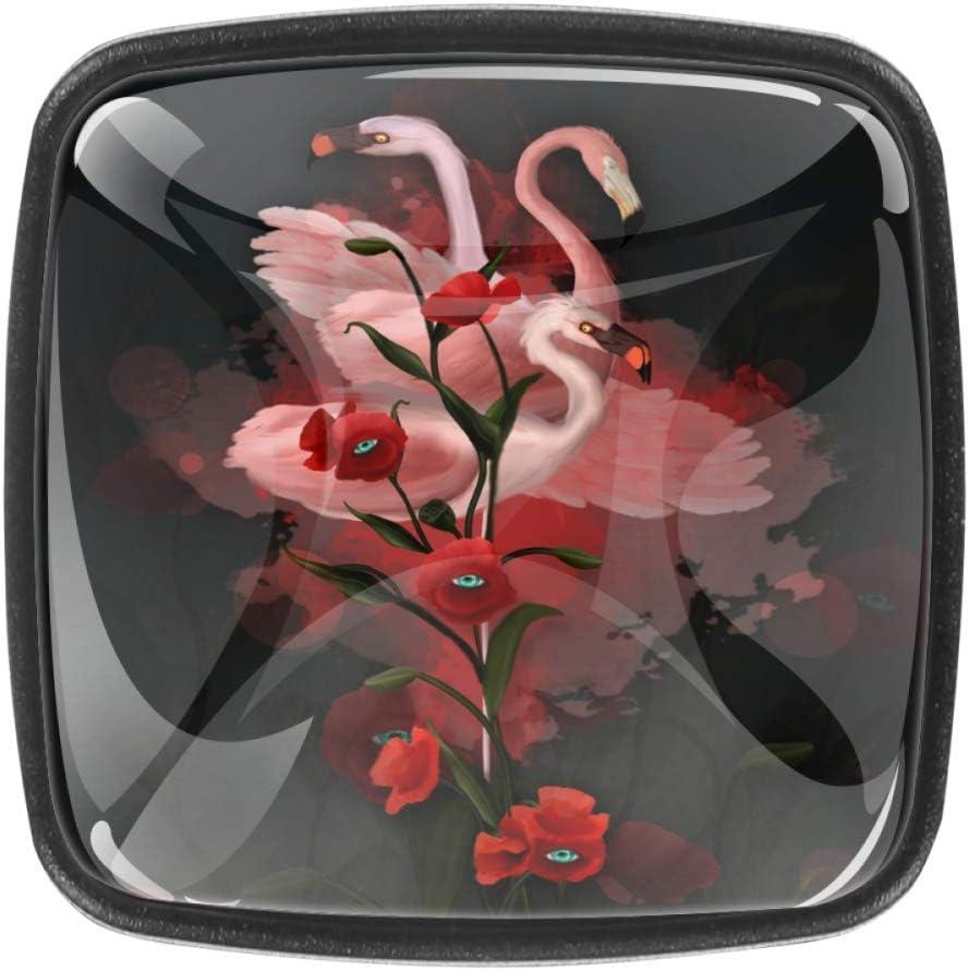 Tiradores para cajones Tirador para cajones Cajonera Caballo Oficina en el hogar Cocina Armario Armario Herrajes Perillas para gabinetes de puerta Vidrio Flamencos y amapolas 3D