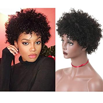 Ms Taj Short Curly Human Hair Wigs For Women Brazilian Virgin Afro Curly Human Hair Wigs None Lace 150 Density Unprocessed Afro Wig Human Hair Curly