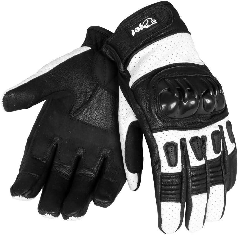 guantes de moto de cuero cortos JET