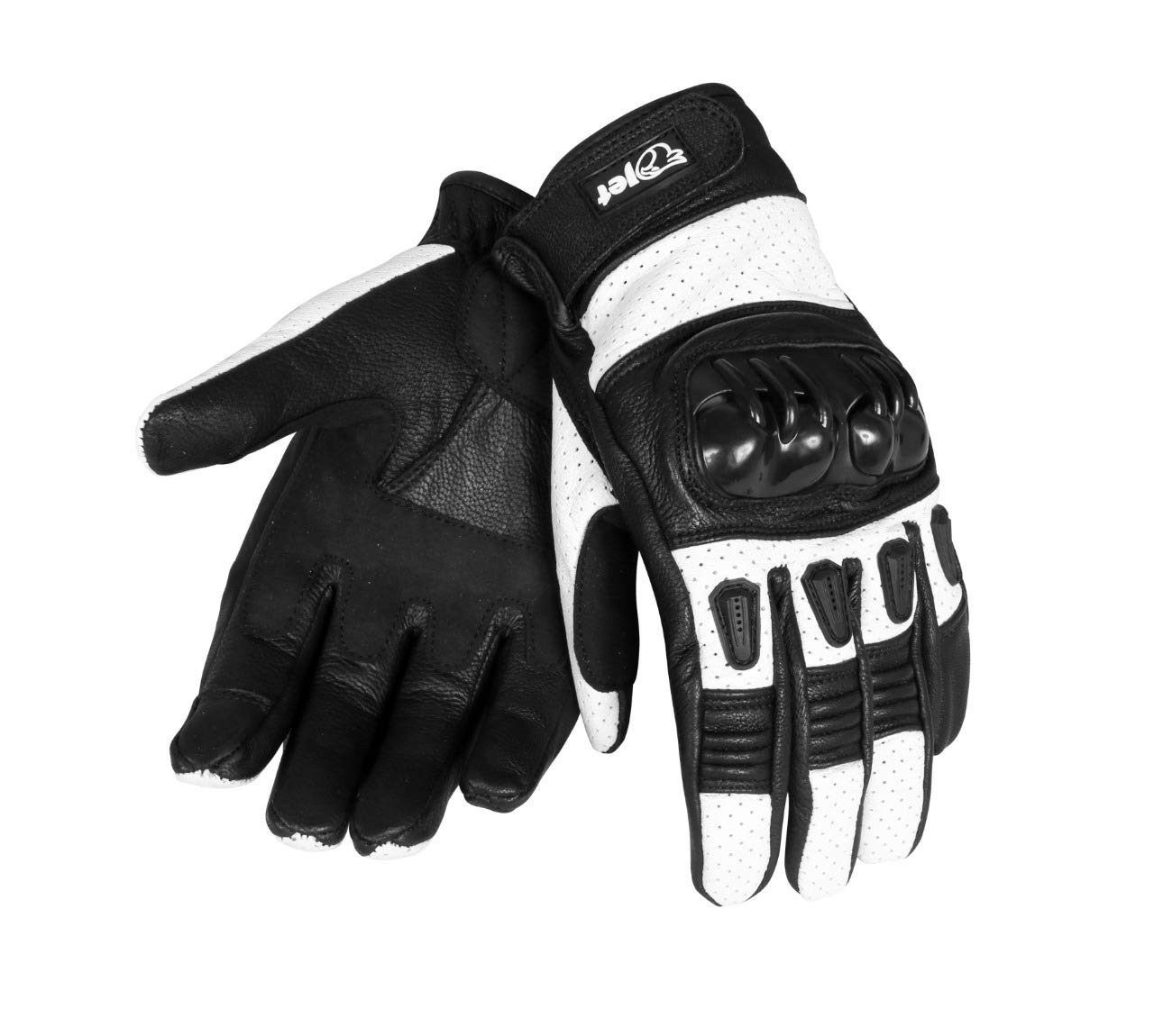 JET Motorcycle Motorbike Gloves Leather Vented Hard Knuckle Touch Screen Gloves Men ATV Riding KOBI L, Full Black