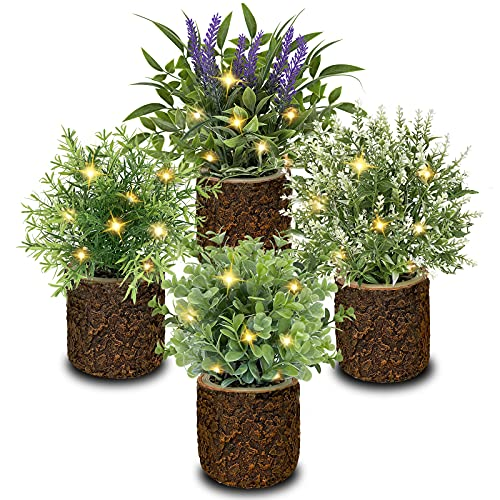 Aofeng Artificial Plants Fake Plants & Flowers with LED Lights Set of 4 Potted Faux Plant Decor Greenery Decor for Home Office Farmhouse Indoor Decoration (No Battery)