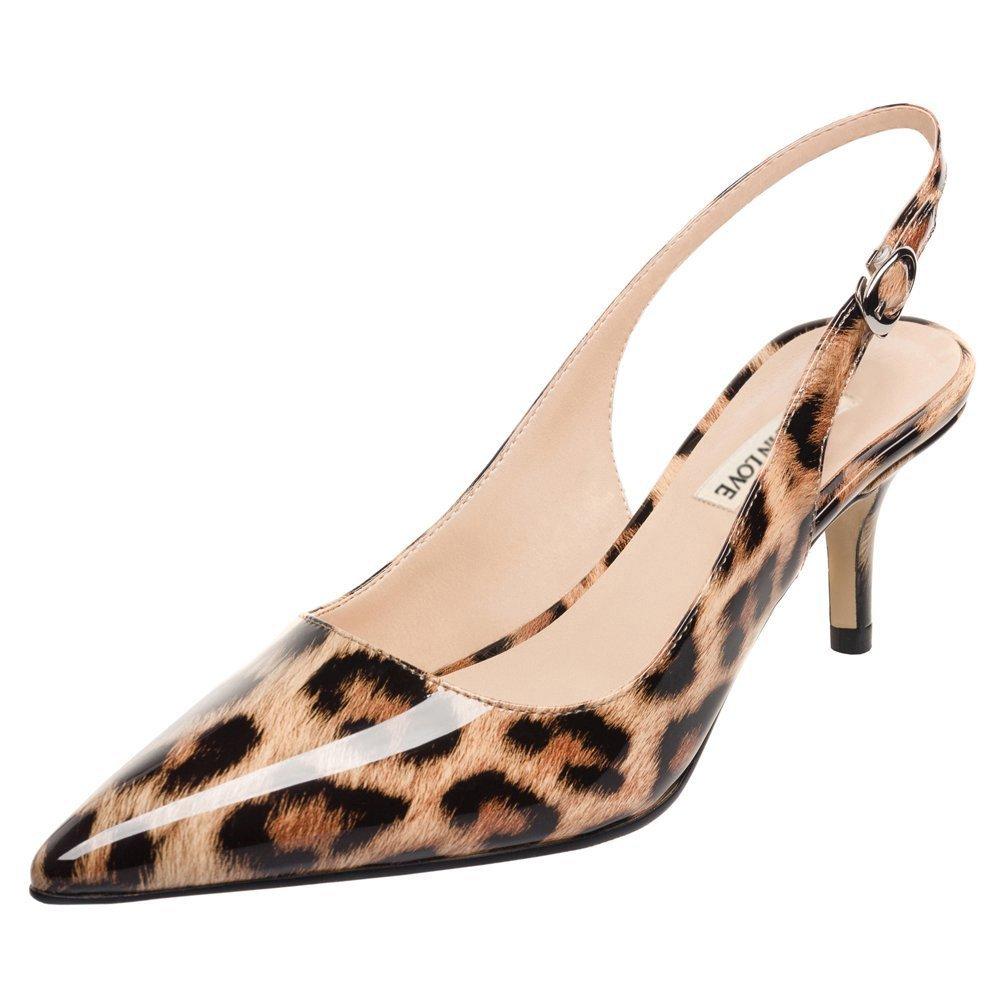 June in Love Women's Kitten Heels Pumps Pointy Toe Slingback Shoes for Usual Daily Wear Leopard 8 US