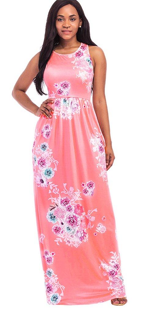 5c3f94fb76 Women s Floral Print Racerback Sleeveless Pocket Long Maxi Casual Dress  Pink S