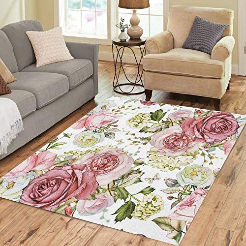 Semtomn Area Rug 3' X 5' Pink Flowers and Green Leaves on Watercolor Floral Pattern Rose in Pastel Color Home Decor Collection Floor Rugs Carpet for Living Room Bedroom Dining Room