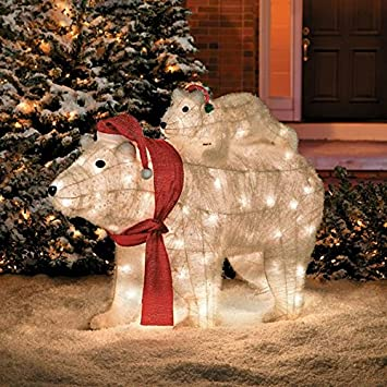 mother and baby pre lit polar bears outdoor christmas decoration - Pre Lit Polar Bear Christmas Decoration Set Of 3