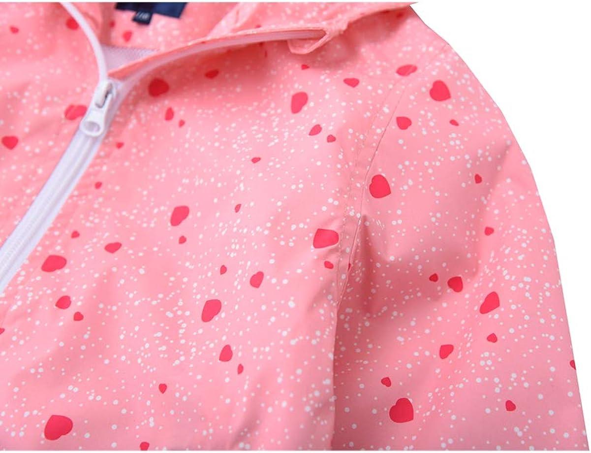 Hiheart Girls Lightweight Hooded Jackets Mesh Lined Waterproof Raincoat