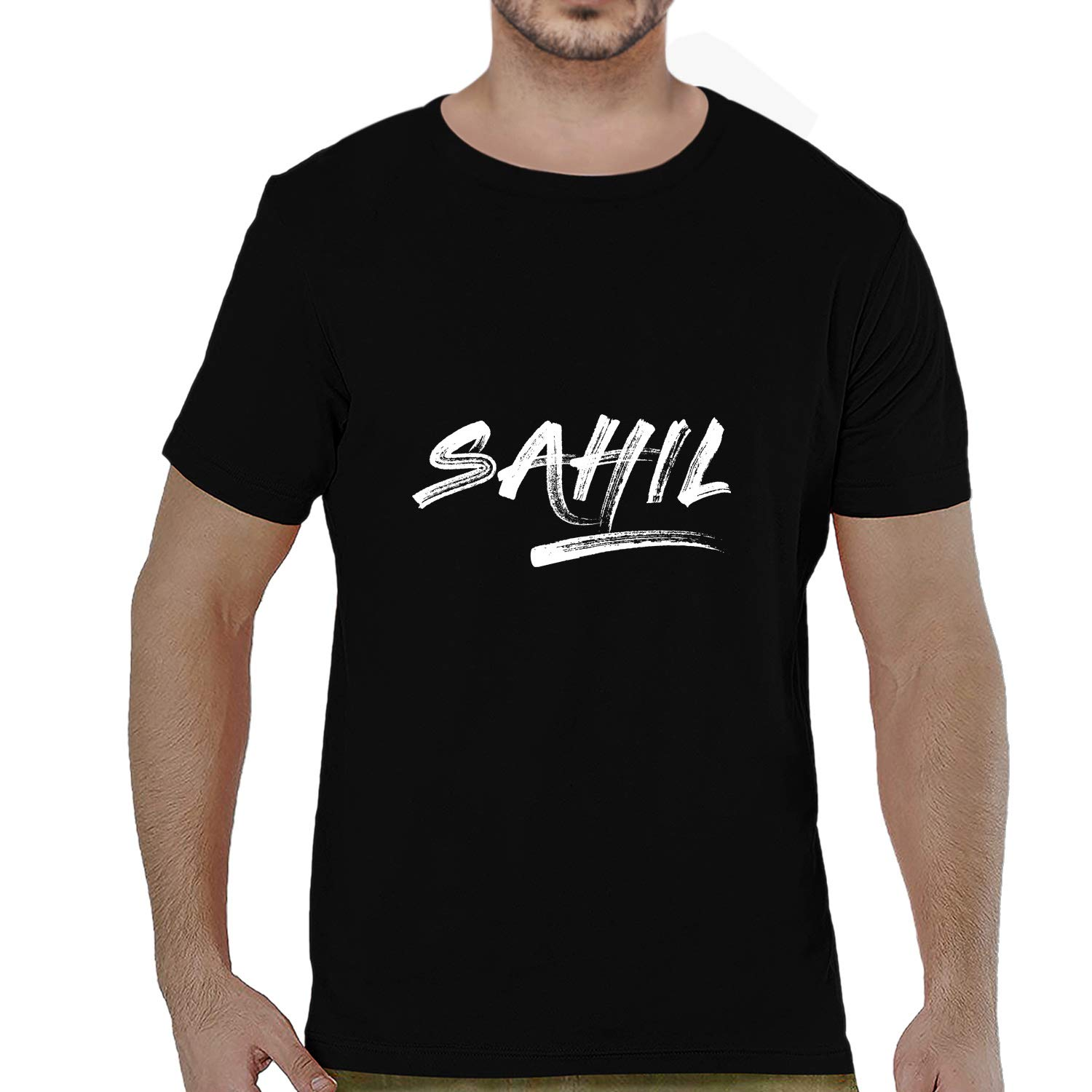 aed0fe31 Pooplu Mens Sahil Cotton Printed Round Neck Half Sleeves Black & White T  Shirt. Common Names, Symbol Tshirts: Amazon.in: Clothing & Accessories