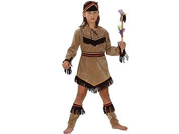 Disfraz de india para niña (una túnica de aspecto de ante de color ...