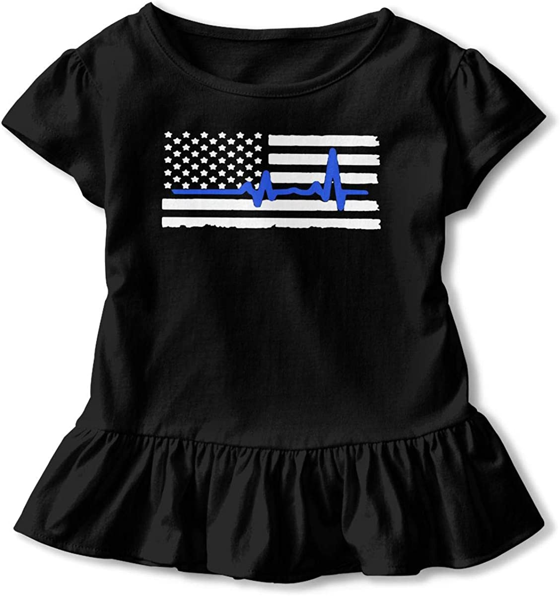Love Thin Blue Line USA Flag 2-6 Years Old Boys /& Girls Short-Sleeved T Shirts