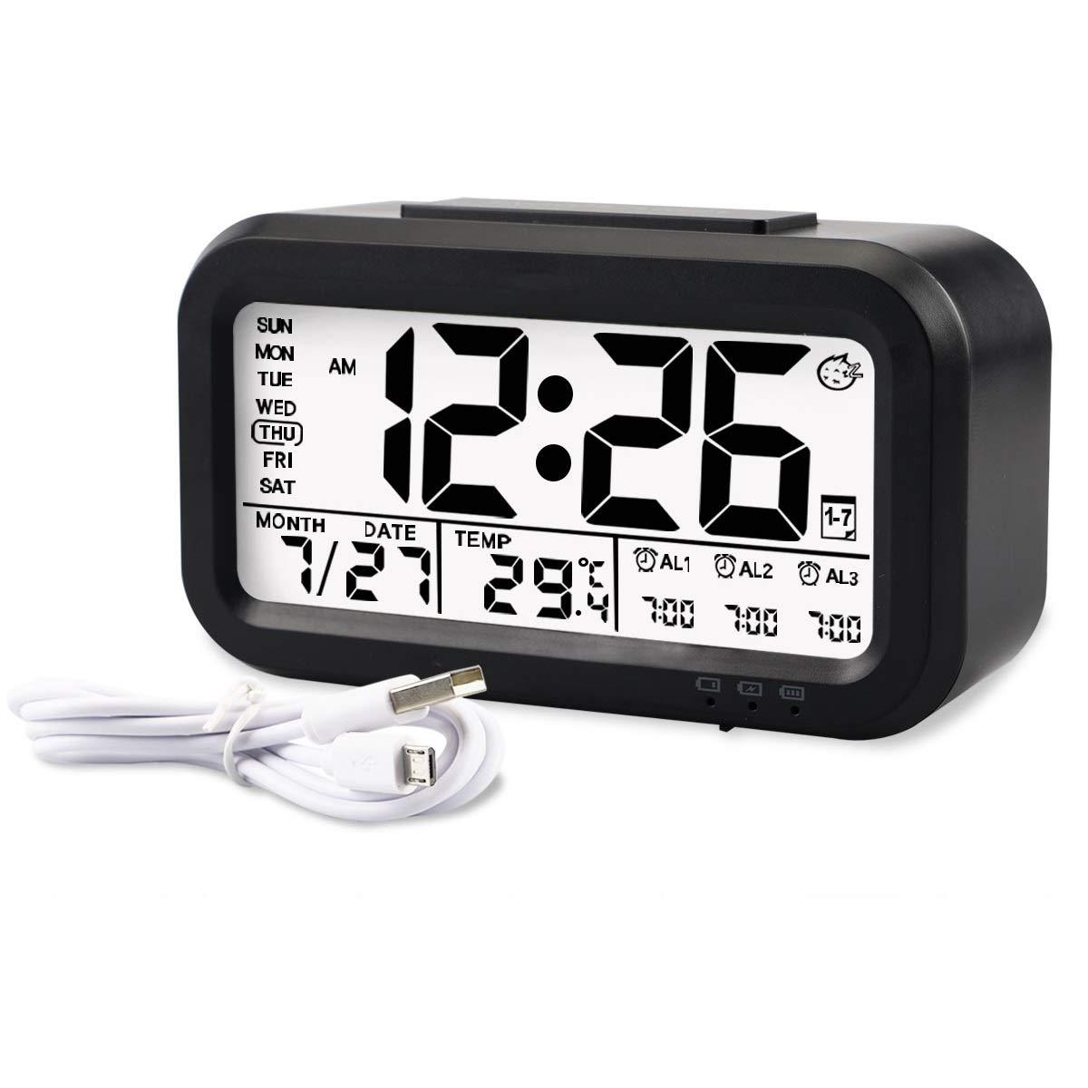 Aitey Alarm Clock, Digital Alarm Clock for Kids, Time/Date/Temperature Display, Snooze Function, 3 Alarms, Optional Weekday Mode, USB Charging (Black)