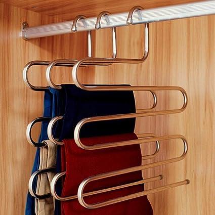 2 piezas multifunci/ón perchas percha para pantalones de acero inoxidable resistente al moho Organizador de la Pantalones