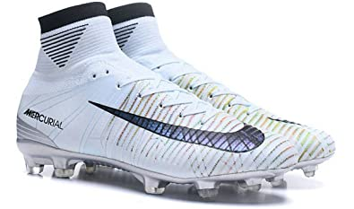 ff146c240593 Image Unavailable. Image not available for. Colour  BestSOCL Mercurial  Superfly V CR7 Melhor FG High Top Silver Blue Tint Black Chrome Mens Soccer
