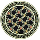 Safavieh Chelsea Collection HK60B Hand-Hooked Black Premium Wool Round Area Rug (5'6″ Diameter)