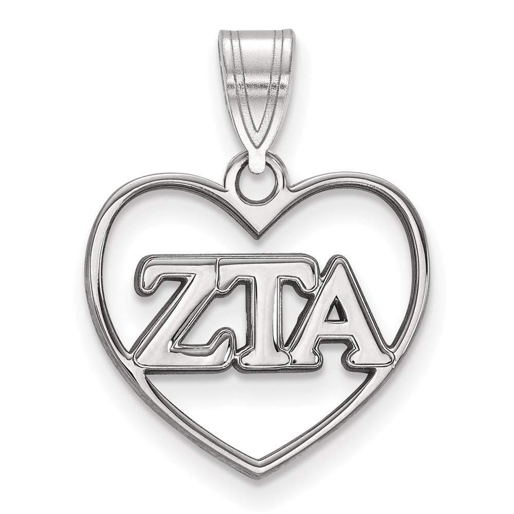 Roy Rose Jewelry Sterling Silver Zeta Tau Alpha Heart Pendant