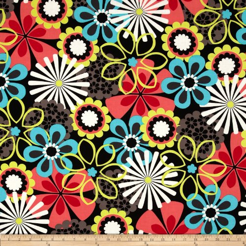 Michael Miller Contemporary Florals Flower Shower Clementine Fabric By The (Michael Floral Print)