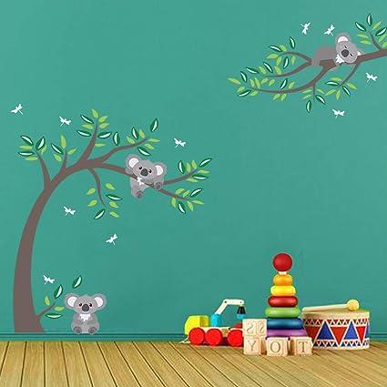 BDECOLL Wall Stickers,FamilyMon-Dad-Baby Koalas on the tree Wall decals,Kid de