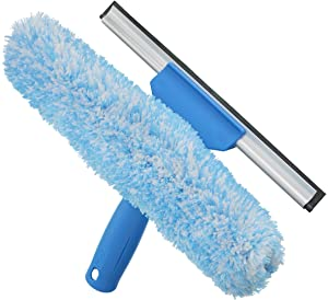 Unger Professional Microfiber Window Combi: 2-in-1 Squeegee and Window Scrubber, 10""