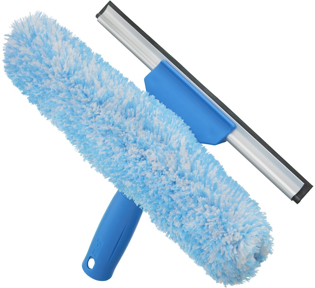 Unger Professional Microfiber Window Combi: 2-in-1 Professional Squeegee and Window Scrubber, 10''