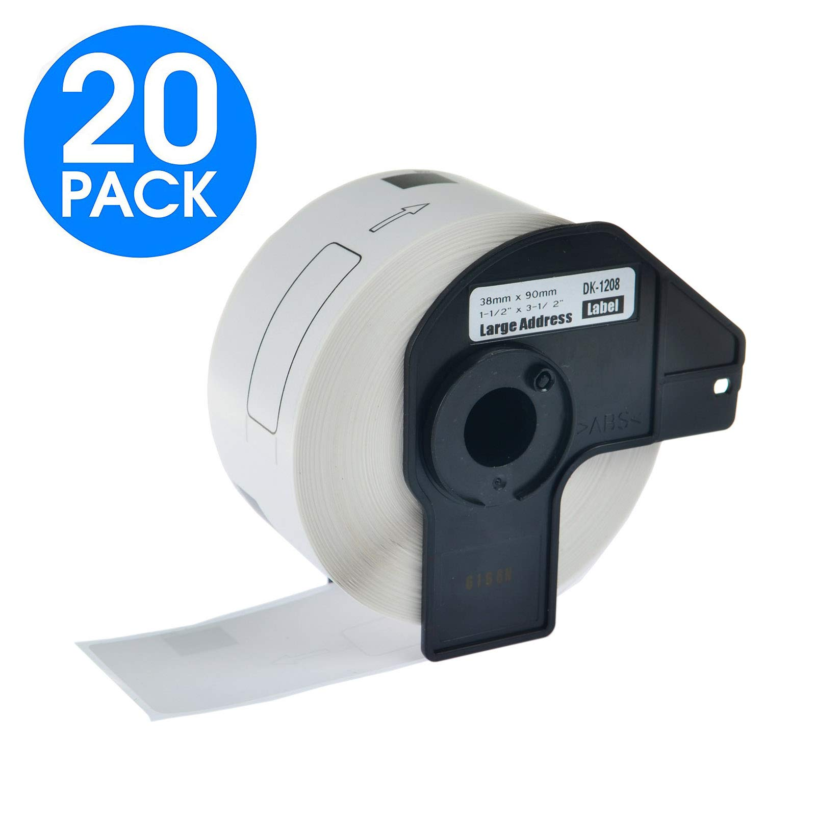 KCYMTONER 20 Rolls DK-1208 Continuous Length Address Paper Labels,38mm x 90mm 3-1/2X1-1/2,Compatible with Brother P-Touch QL-Series Printers QL-560 QL-570 QL-700 QL-1060N,Includes (20) Snap-On-Frame
