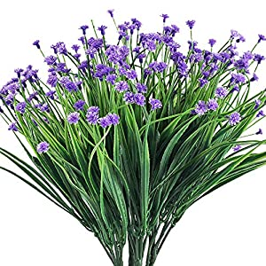 XYXCMOR Artificial Fake Flowers 4pcs Baby's Breath Flowers Bouquet Greenery Shrubs Plastic Flowers for Cemetery Farmhouse Indoor Outside Hanging Planter Decor Purple 11