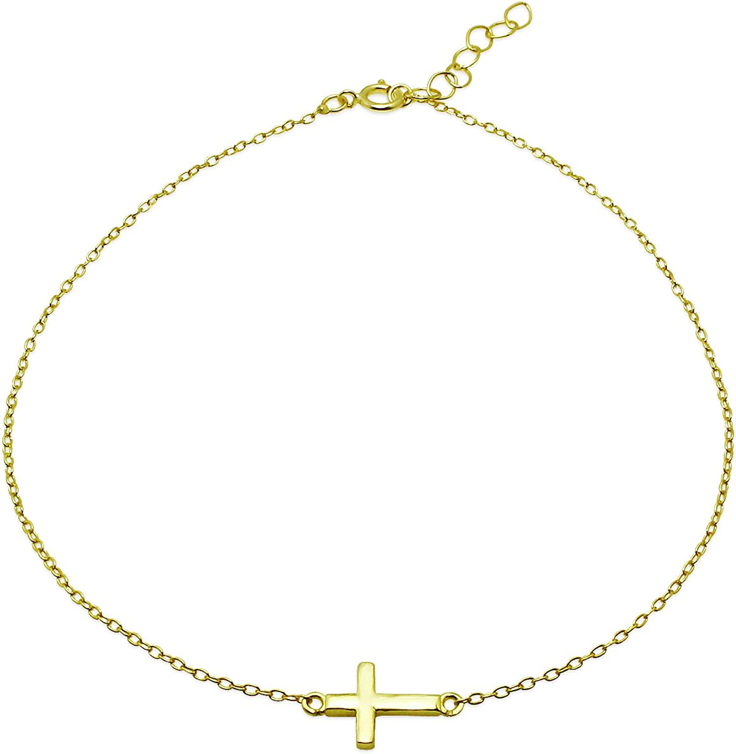 Sterling Silver Cross Chain Anklet with Extender