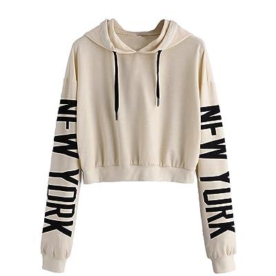 Clearance! Women Hoodie Sweatshirt sfe New York Pattern Long Sleeve Spring Hooded Pullover Sportswear