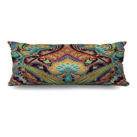 Amazoncom Diycow Body Pillows Covers Floral India Paisley Pattern