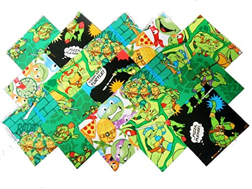 10 10X10 INCH Teenage Mutant Ninja Turtle Layer Cake Quilting Squares Charm Pack- 5 Different - 2 of Each -