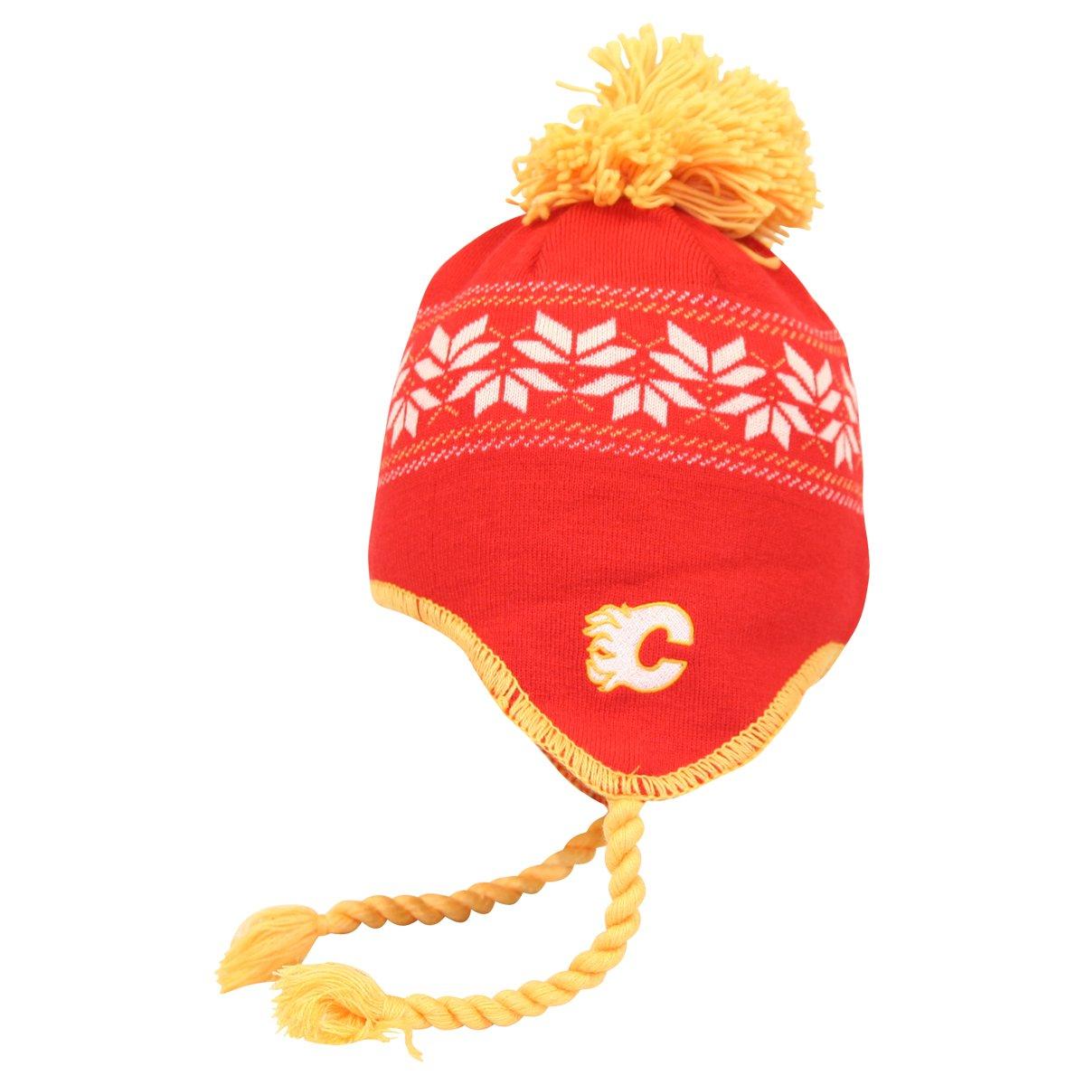e2b3050066a Calgary Flames CCM Tassel Pom Snowflake Knit Hat