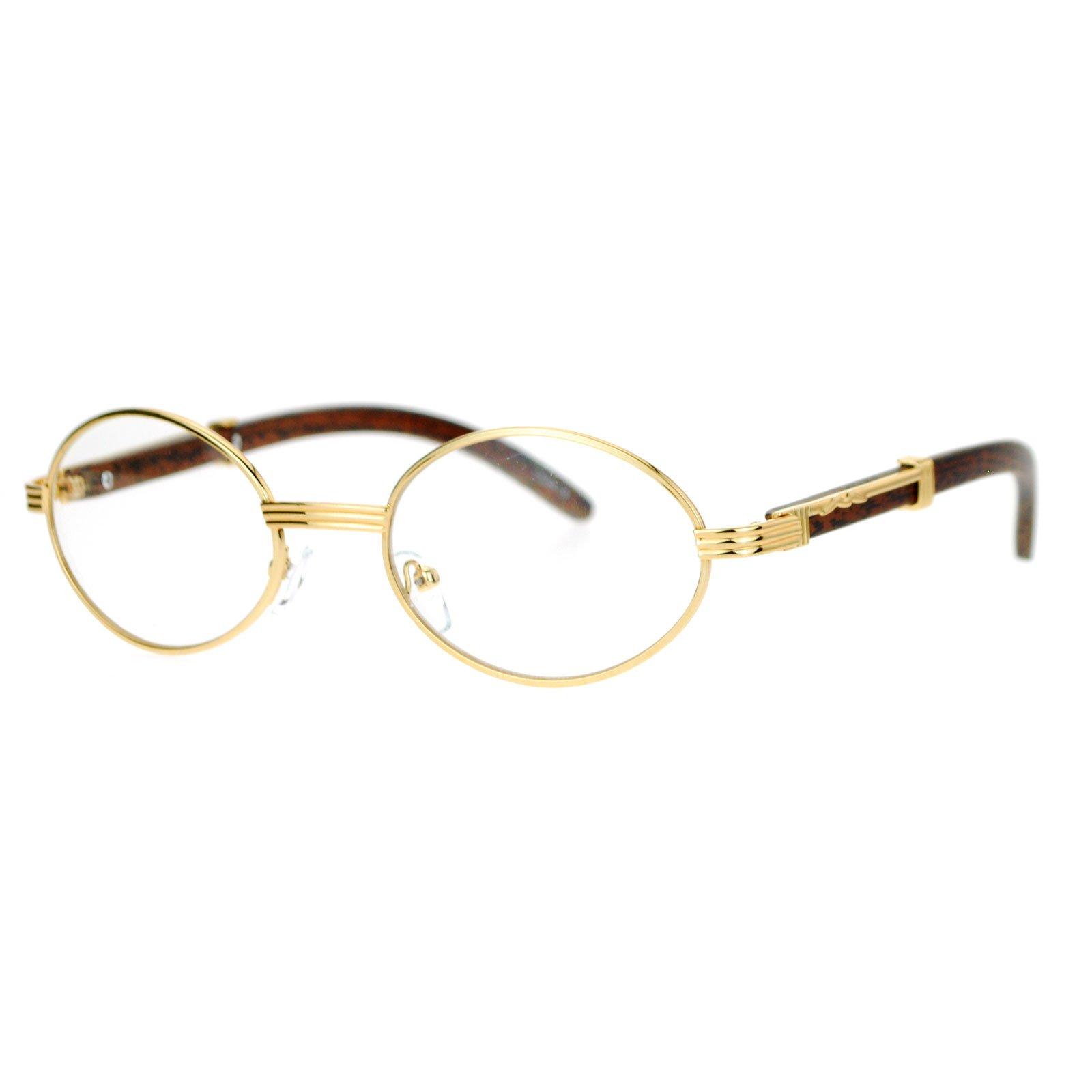 SA106 Art Nouveau Vintage Style Oval Metal Frame Eye Glasses Yellow Gold