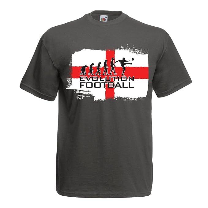 lepni.me Camisetas Hombre La Evolución de Fútbol - Inglaterra, Campeonato de Rusia 2018, Copa del Mundo - Camisa del admirador de Equipo del Fútbol Inglesa: ...