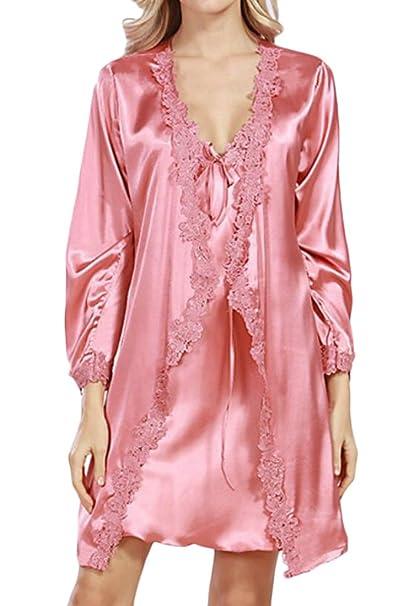 f5f4aaa8967e Jotebriyo Womens 2 Pieces Set Lace Trim Sleepwear Dress Satin Nightgowns  Pajamas Set at Amazon Women s Clothing store