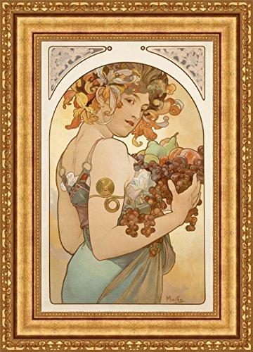 Alphonse Mucha Fruit Framed Canvas Giclee Print - Finished Size (W) 20.1'' x (H) 28.1'' [Gold] (V12-04K-MD535-01)