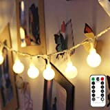 LE Battery Powered LED Globe String Lights Ball Fairy Lights with Remote, 16.4ft 50 LED 8-Mode Twinkle Lights with Timer, Ind