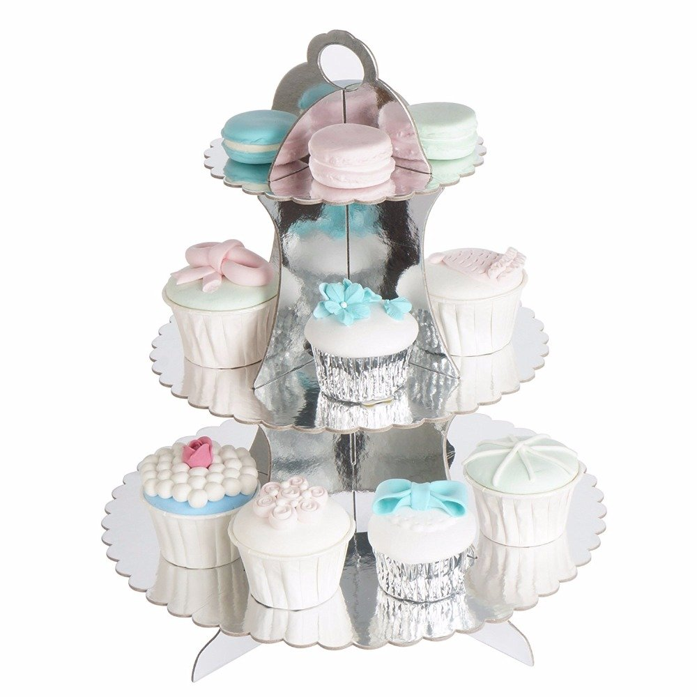12W x 13.5H Adorox 3-Tier Gold Round Cardboard Cupcake Stand Dessert Birthday Wedding Special Event Decoration Reusable