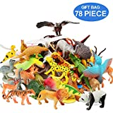 Animal Figures Set of 78 Realistic Assorted 32 Mini Jungle Animals & 12 Dinosaurs & 12 Birds & 22 Accessories Party Favors Toys PlaySet For Kids Toddler Educational